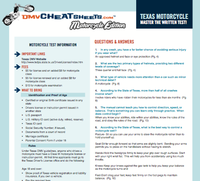 Texas Motorcycle Written Test, Texas Motorcycle Cheat Sheet, Texas ...